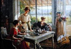 """Femmes Prenant le Thé (Women having Tea)"", c. 1910, by Albert Lynch (Peruvian, 1851-1912)."