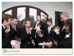 Super funny wedding pic to take one day! Groom showing off his ring and groomsmen reacting the way girls do hehe