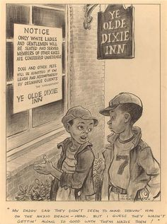 by Ollie Harrington, cartoonist for our predecessor, the Daily World. He was the first Black American cartoonist to depict Black American subjects. Black History Facts, Us History, Political Art, Political Cartoons, Jim Crow, African Diaspora, African American History, Civil Rights, Anzio Beach
