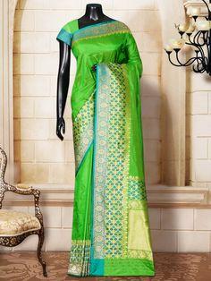 Green Katan Silk Plain Tanchoi Banarasi Handloom Saree