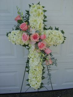 Standing Cross for Funeral Tribute White Cushion Pomps with Pink Rose Sash
