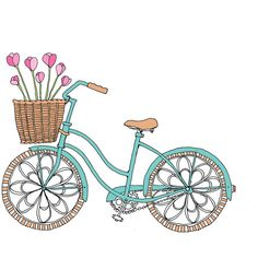 Tulip Bike - Easter or Spring Card ($3) ❤ liked on Polyvore featuring drawings, backgrounds, filler and illustrations
