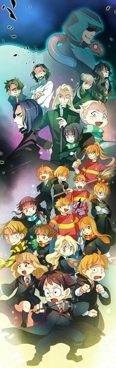 Harry Potter Anime Fan Art this is so adorable aaaa Art Harry Potter, Harry Potter Images, Harry Potter Anime, Harry Potter Fandom, Harry Potter Universal, Harry Potter Hogwarts, Draco Malfoy, Hermione Granger, Kawaii