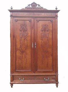 C19 French Linen Cupboard Bookcase Armoire