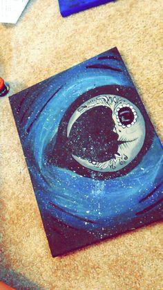 Sugar skull moon canvas painting