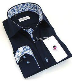 New Mens Formal Smart Italian Navy Blue Slim Fit Floral Collar Shirt M L 3XL 4XL