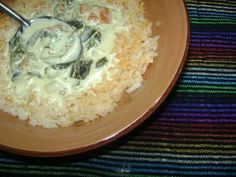 Rajas con crema (roasted poblano pepper slices w cream via lacocinadeleslie.com