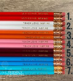 Excited to share this item from my shop: Teach Love Inspire / Custom Pencils / Personalized Teacher Gift