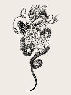 Dragon Tattoo With Flowers, Dragon Hand Tattoo, Dragon Tattoo Drawing, Dragon Tattoo For Women, Dragon Sleeve Tattoos, Dragon Tattoo Designs, Tattoo Sleeve Designs, Dream Tattoos, Cute Tattoos
