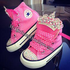 Princess first birthday shoes, pink Swarovski converse