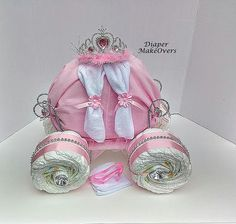 Princess Carriage - Ready To Ship - Princess Diaper Cake - Unique Baby Girl Baby Shower - Unique Baby Gift - Baby Shower Centerpiece Bebe Shower, Baby Shower Niño, Baby Shower Diapers, Baby Shower Cakes, Baby Shower Parties, Baby Shower Themes, Diaper Shower, Shower Ideas, Cinderella Baby Shower