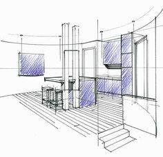 Perspective dun concept en combles avec cuisine ouverte et satellite de distribution. Philippe