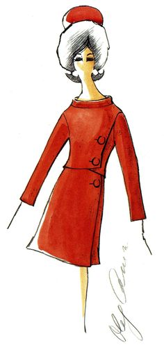 Oleg Cassini's design sketch for one of Jacqueline Kennedy's dresses. Loved his sketches/outfits for her wardrobe.