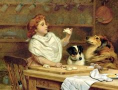 "Charles Burton Barber (1845-1894)    ""The Little Baker with Her Two Assistants"""