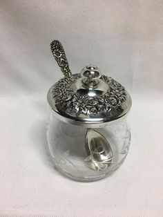S Kirk & Sons Repousse Sterling Silver Covered Jam Jelly Jar Etched Glass 20F #KirkStieff
