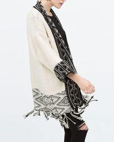 JACQUARD JACKET WITH FRINGED HEM-Cardigans-Knitwear-WOMAN   ZARA United States
