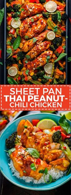 The Rise Of Private Label Brands In The Retail Meals Current Market Sheet Pan Thai Peanut-Chili Chicken. This Sweet And Spicy Glazed Chicken And Vegetable Dish Is A Cinch To Make For A Weeknight Dinner One Pot Meals, Easy Meals, Asian Recipes, Healthy Recipes, Healthy Food, Asian Dinner Recipes, Paleo Food, Thai Recipes, Delicious Recipes
