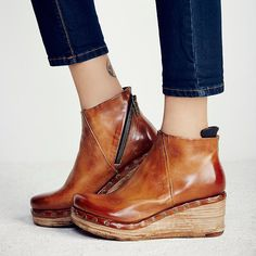 Fashion Leather Slope Heel Boots – Tailorhacks On Shoes, Shoes Heels Boots, High Heel Boots, Heeled Boots, Sneakers Fashion, Fashion Boots, Boots Style, Clog Boots, Women's Boots