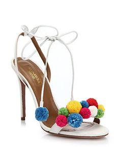 Aquazzura - Leather Pom-Pom Sandals