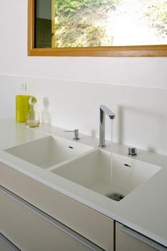 2 bowl Corian kitchen sink IMAGE