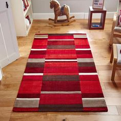Nellie Hand-Woven Wool Red Rug 17 Stories Rug Size: Rectangle 120 x Gold Rug, Striped Rug, Machine Made Rugs, Brown Rug, Hand Tufted Rugs, Pink Rug, Red Rugs, Large Rugs, Rugs Online