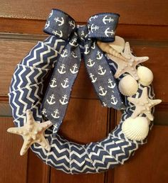 small nautical wreath sea shells anchor blue bow sold