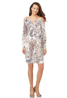 Cato Fashions Cold Shoulder Paisley Shift Dress-Plus #CatoFashions