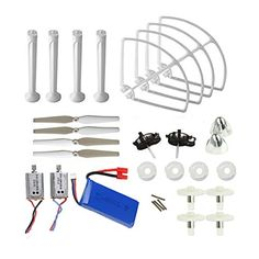 Coolplay Syma X8C X8W Venture Full Kit Crash Pack Main Blade Propellers & Motor & Propeller Protectors Blades Frame & Landing Skid & Battery Spare Parts for RC Mini Quadcopter Toy (White) -- Be sure to check out this awesome product.