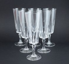 Cristal d'Arques Versailles Champagne Flutes - Set of Six - Vintage Crystal Glasses with Box Beer Chicken, Crazy Colour, Mid Century Decor, Mason Jar Wine Glass, Champagne Flutes, Pretty Good, Versailles, Vintage Items, Crystals