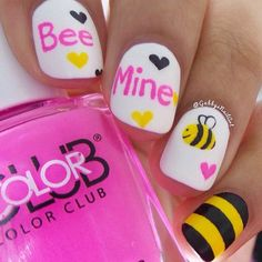 Cute 'Bee Mine' Valentine's Day Nails