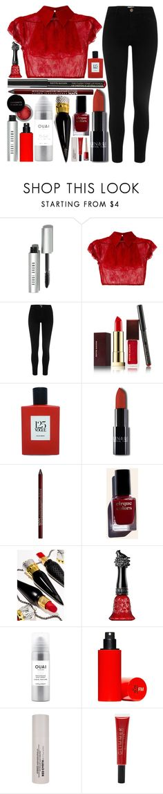 """""""Untitled #165"""" by classyrainbows ❤ liked on Polyvore featuring Bobbi Brown Cosmetics, N°21, Kevyn Aucoin, Comme des Garçons, Charlotte Russe, Cirque Colors, Christian Louboutin, Anna Sui, Ouai and Concrete Minerals"""