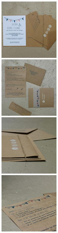 Faire-parts de mariage rustique fait à la main par La carte au trésor. lacarteautresor.com