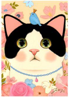 Jetoy Choo Choo Cat Postcard: Jewelry