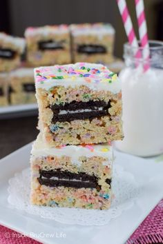 Sprinkles and Oreo cookies make these stuffed rice krispie treats an amazing treat.