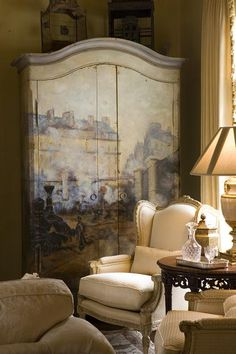 The armoire gives extra dimension to this room. Hand Painted Furniture, Refurbished Furniture, Furniture Vintage, Modern Furniture, Beautiful Interiors, Beautiful Homes, Decoration Shabby, Painted Armoire, Interior Decorating