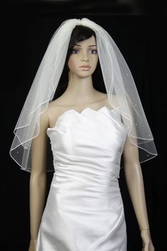 Wedding Veil Bridal 2 Tier White Scattered Rhinestone Elbow Pencil Trim Edge New * This is an Amazon Affiliate link. Read more reviews of the product by visiting the link on the image.