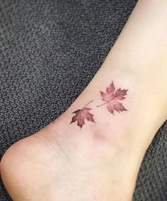 Super Cute Maple Leaf Tattoo Design on Ankle