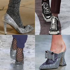 """Trendy Shoe style for Fall Winter 2017: """"Metallica and Glitter """" Shiny Glittery Silver Heels.  Isabel Marant, Marco de Vincenzo, Jeremy Scott, and Mary Katrantzou FW17 AW17 Trend"""