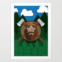 Lumberjack Scene Art Print by HeyTrutt - $15.60