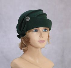 Audrey, Velour Felt Cloche with draped pleated swirls, Loden colored millinery hat
