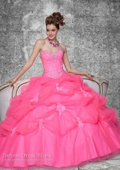 Ball Gown Sweetheart Neckline Floor length Sleeveless Tulle Quinceanera Dress with Applique (SAS402)