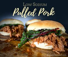 Try this low sodium recipe for pulled pork. Served with quick dinner rolls, this is a delicious family dinner that won't disappoint. Low Sodium Diet, Low Sodium Recipes, Low Sodium Bbq Sauce Recipe, Low Sodium Meals, Cholesterol Diet, Low Carb, Salt Free Recipes, Pulled Pork Recipes, Heart Healthy Recipes