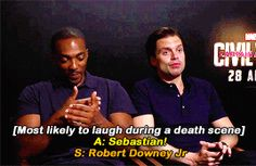 Who's most likely to laugh during a death scene? -- Interview with Mackie and Stan--- GIF