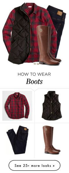 """""""Plaid flannel, vest & riding boots"""" by steffiestaffie on Polyvore featuring moda, American Eagle Outfitters, J.Crew e Tory Burch"""