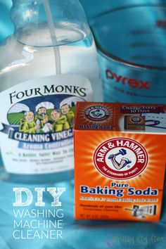 Get rid of that smelly washing machine and save money by making your own homemade washing machine cleaner.  Such a simple DIY recipe with 3 ingredients!  #FourMonksClean