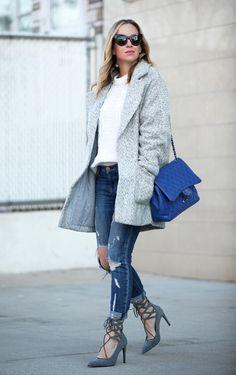 Coat: Topshop via Nordstrom | Sweater: similar | Jeans: Current/Elliott Stiletto | Shoes:...