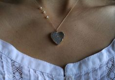 Drusy Heart and Pearls in Goldfilled Necklace by ATELIERGabyMarcos, $75.00