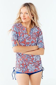Women's Adjustable Tunic Swim Rash Guard - Kinetic Floral from Lands' End
