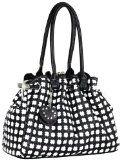 Timeless Chic Black / White Cross Woven Weave Kiss Clasp Framed Leatherette Satchel Hobo Shoulder Bag Handbag Purse