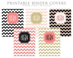 INSTANT DOWNLOAD - Printable Binder Covers - Monogram Chevron - Pink, Gold, Black